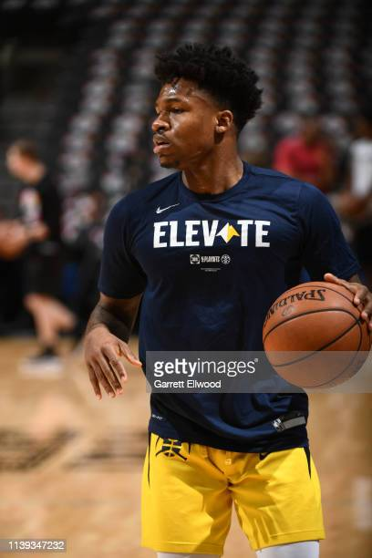 Brandon Goodwin of the Denver Nuggets warms up prior to Game Six of Round One against the Denver Nuggets during the 2019 NBA Playoffs on April 25...