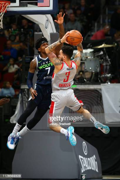 Brandon Goodwin of the Iowa Wolves contests the drive by Chris Chiozza of the Rio Grande Valley Vipers during the NBA G League on March 3 2019 at the...