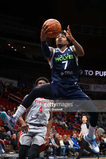 Brandon Goodwin of the Iowa Wolves goes to the basket against the Rio Grande Valley Vipers during the NBA G League on March 3 2019 at the Wells Fargo...