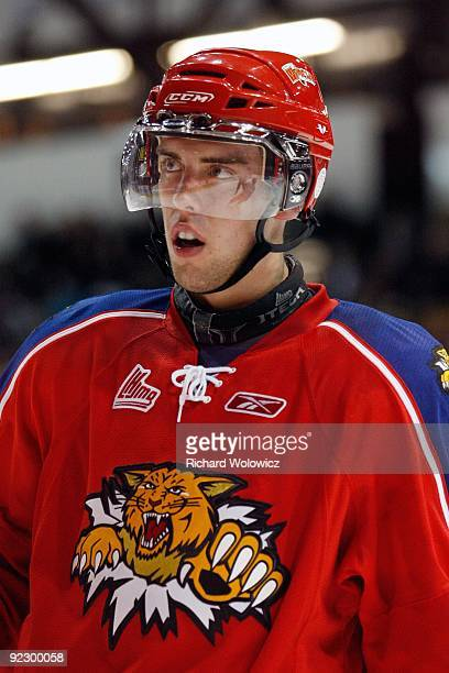 Brandon Gormley of the Moncton Wildcats skates during a play stoppage in the QMJHL game against the Montreal Juniors at the Verdun Auditorium Centre...