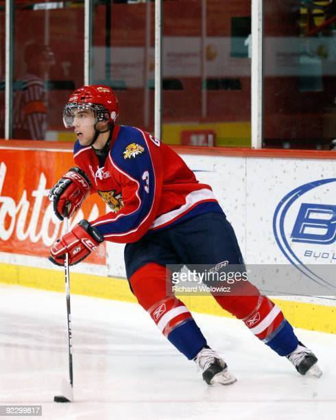 Brandon Gormley of the Moncton Wildcats skates with the puck during the QMJHL game against the Montreal Juniors at the Verdun Auditorium Centre on...
