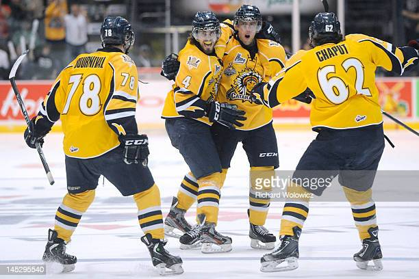 Brandon Gormley of the Shawinigan Cataractes celebrates his first period goal with teammates during the 2012 MasterCard Memorial Cup game against the...