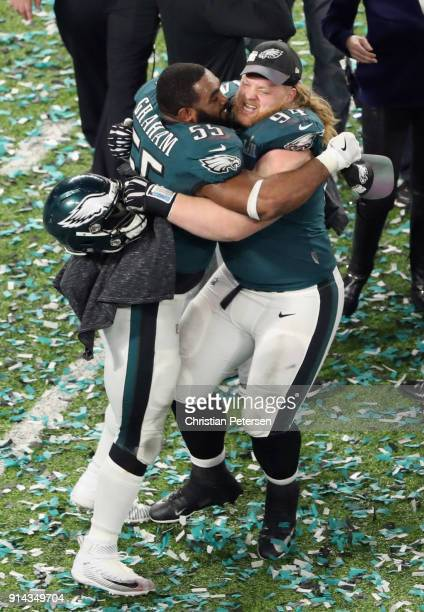 Brandon Graham and Beau Allen of the Philadelphia Eagles celebrate after defeating the New England Patriots 41-33 in Super Bowl LII at U.S. Bank...