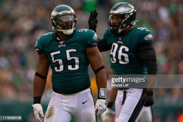 Brandon Graham and Derek Barnett of the Philadelphia Eagles react against the New York Jets at Lincoln Financial Field on October 6, 2019 in...