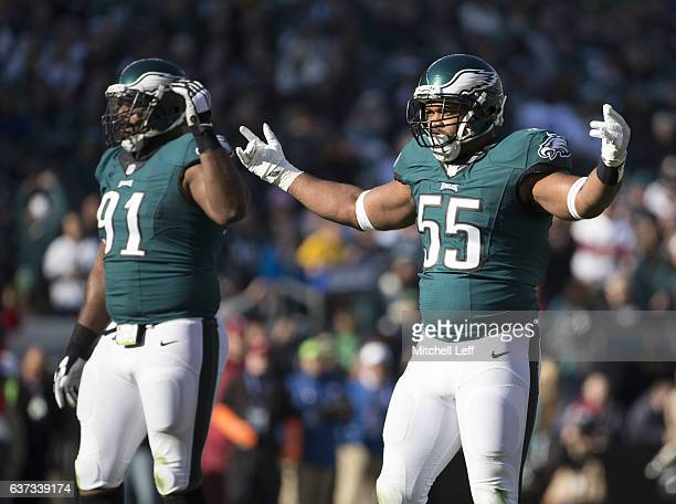 Brandon Graham and Fletcher Cox of the Philadelphia Eagles play against the Dallas Cowboys at Lincoln Financial Field on January 1 2017 in...