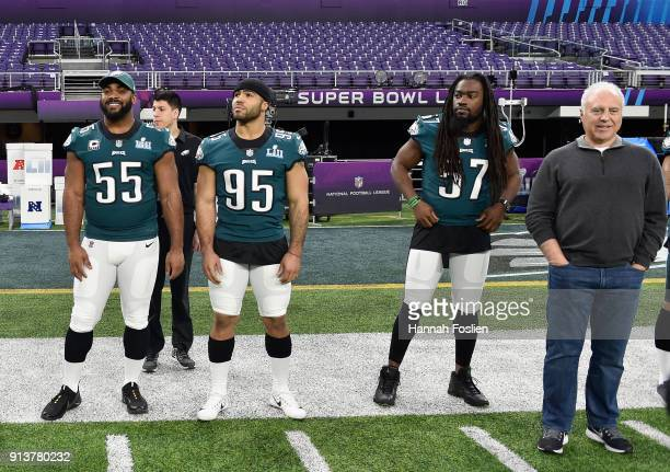 Brandon Graham Mychal Kendricks and Dannell Ellerbe of the Philadelphia Eagles look on with team owner Jeffrey Lurie during Super Bowl LII practice...