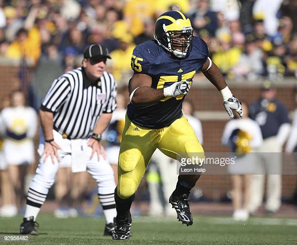 Brandon Graham of the University of Michigan runs during the game against the Purdue Boilermakers at Michigan Stadium on November 7 2009 in Ann Arbor...