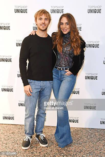 Brandon Green and Chloe Green arrive at the Topshop Unique LFW AW16 show at The Tate Britain on February 21 2016 in London England