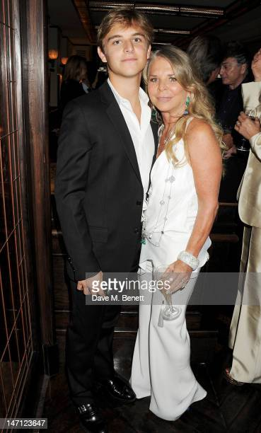 Brandon Green and Tina Green attend as Richard Caring and Sir Philip Green host Johnny Gold's 80th Birthday at 34 Grosvenor Square on June 25 2012 in...