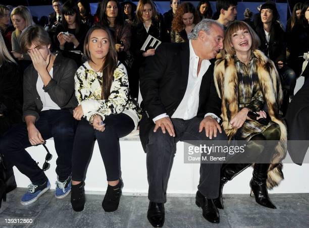 Brandon Green Chloe Green Sir Philip Green and Anna Wintour sit in the front row at the Unique Autumn/Winter 2012 show during London Fashion Week at...