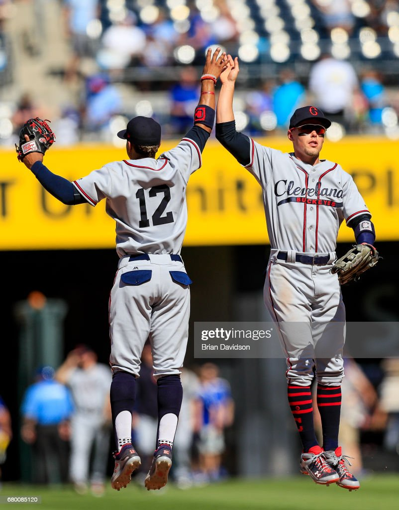 Brandon Guyer #6 and Francisco Lindor #12 of the Cleveland Indians celebrate defeating the Kansas City Royals 1-0 at Kauffman Stadium on May 7, 2017 in Kansas City, Missouri.