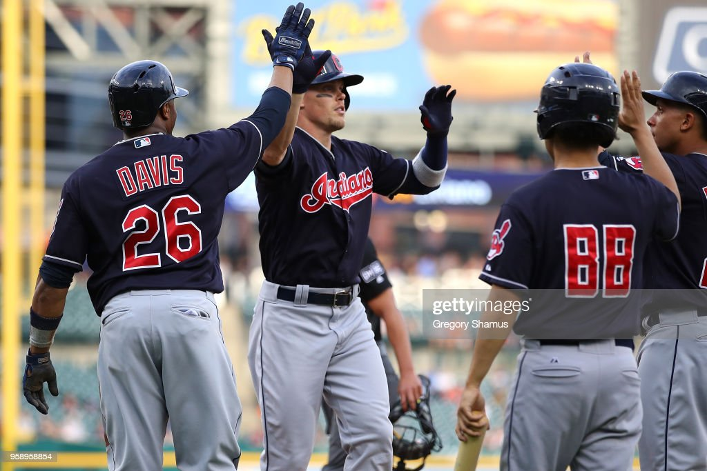 Brandon Guyer #6 of the Cleveland Indians celebrates his first inning grand slam home run with Rajai Davis #26 against the Detroit Tigers at Comerica Park on May 15, 2018 in Detroit, Michigan.