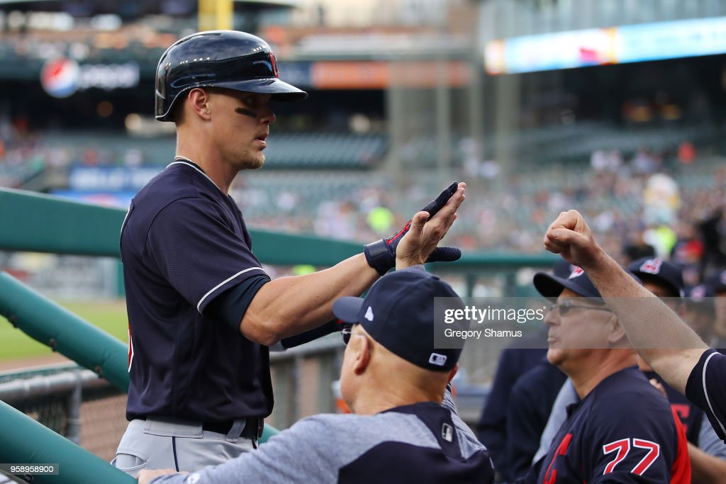 Brandon Guyer #6 of the Cleveland Indians celebrates his first inning grand slam home run with teammates while playing the Detroit Tigers at Comerica Park on May 15, 2018 in Detroit, Michigan.