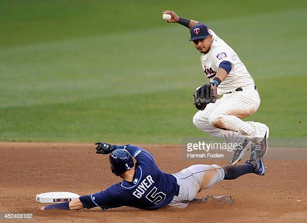 Brandon Guyer of the Tampa Bay Rays is out at second base as Eduardo Escobar of the Minnesota Twins turns a double play during the sixth inning of...