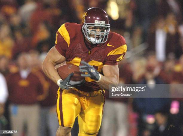 Brandon Hancock of USC heads for the endzone for a touchdown in the fourth quarter during their contest against the Stanford Cardinal at the Los...