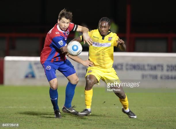 Brandon Hanlan of Bromley holds of Dagenham amp Redbridge's Craig Robson during Dagenham and Redbridge against Bromley Vanarama National League...