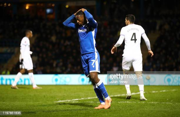 Brandon Hanlan of Gillingham looks dejected after a chance on goal during the FA Cup Third Round match between Gillingham FC and West Ham United at...