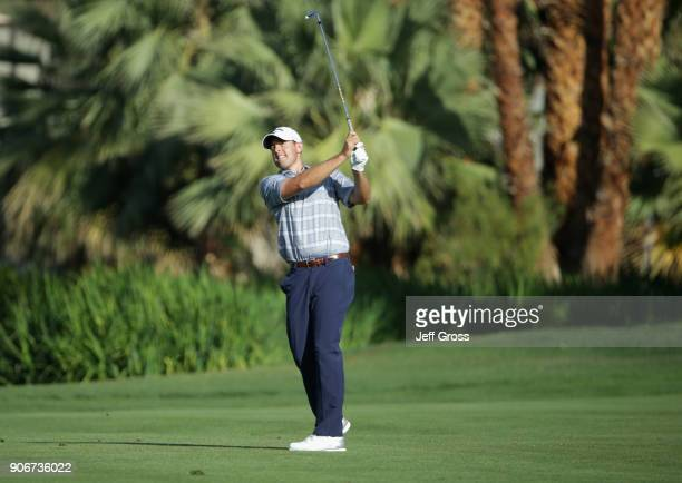 Brandon Harkins plays his shot on the ninth hole during the first round of the CareerBuilder Challenge at La Quinta Country Club on January 18 2018...