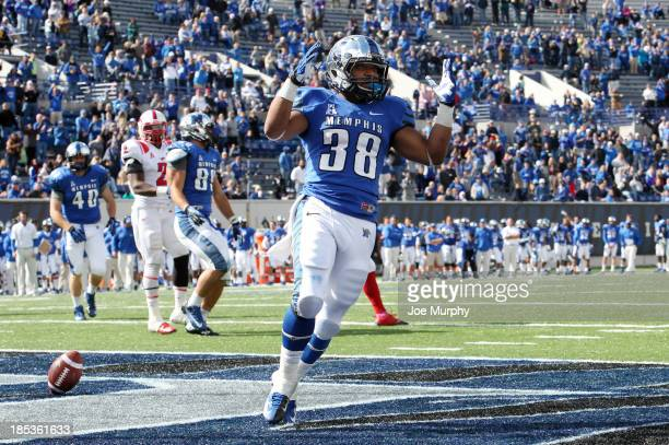 Brandon Hayes of the Memphis Tigers celebrates a touchdown run against the SMU Mustangs on October 19 2013 at Liberty Bowl Memorial Stadium in...