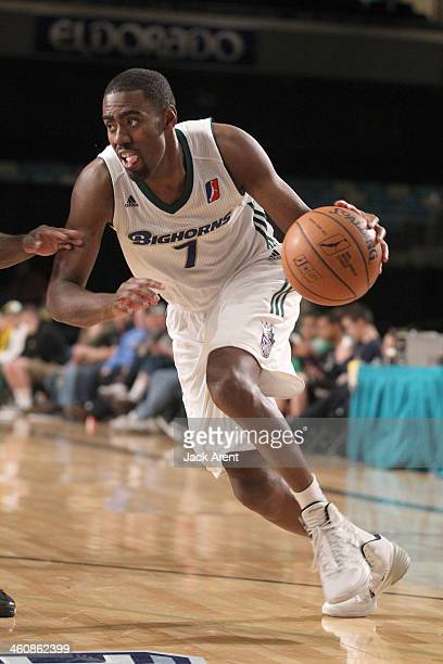 Brandon Heath of the Reno Bighorns drives to the basket against the Delaware 87ers during the 2014 NBA DLeague Showcase presented by Samsung Galaxy...
