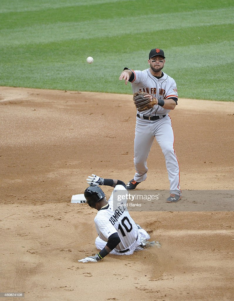 Brandon Hicks #14 of the San Francisco Giants forces out Alexei Ramirez #10 of the Chicago White Sox during the second inning on June 18, 2014 at U.S. Cellular Field in Chicago, Illinois.