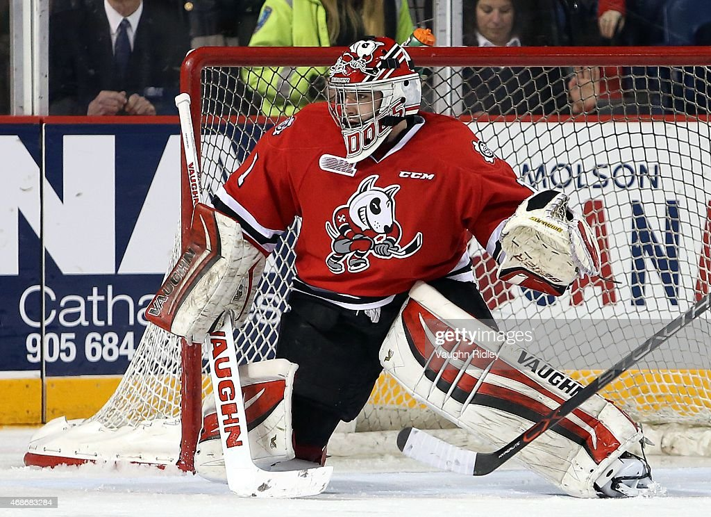 Brandon Hope #1 of the Niagara IceDogs keeps his eye on the puck during Game 6 of the Eastern Conference Quarter-Finals against the Ottawa 67's at the Meridian Centre on April 5, 2015 in St Catharines, Ontario, Canada.