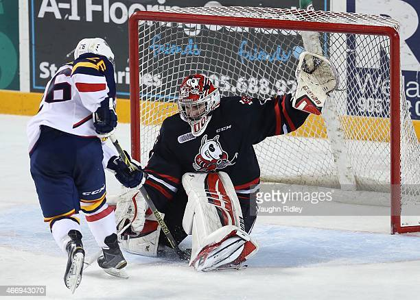 Brandon Hope of the Niagara IceDogs makes a save on Andrew Mangiapane of the Barrie Colts during an OHL game at the Meridian Centre on March 19, 2015...