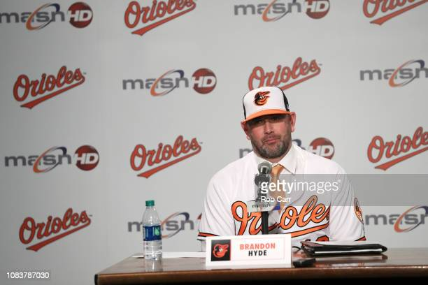 Brandon Hyde is introduced as the new manager of the Baltimore Orioles during a news conference at Oriole Park at Camden Yards on December 17 2018 in...