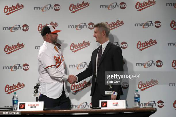 Brandon Hyde is introduced as the new manager of the Baltimore Orioles by general manager Mike Elias during a news conference at Oriole Park at...