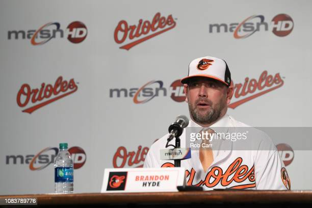 Brandon Hyde talks to the media after being introduced as the new manager of the Baltimore Orioles during a news conference at Oriole Park at Camden...