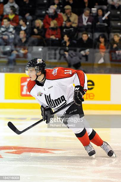 Brandon Hynes skates during Game 1 of the QMJHLRussia Subway Super Series at Centre Desjardins on November 7 2011 in Victoriaville Quebec Canada