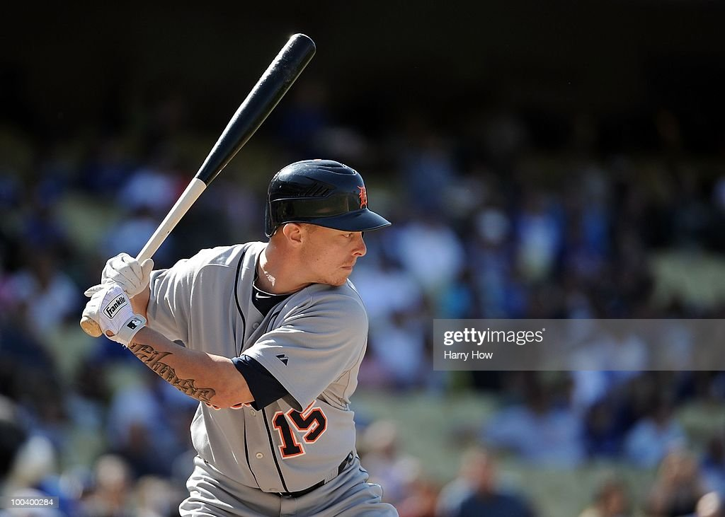 Brandon Inge #15 of the Detroit Tigers at bat against the Los Angeles Dodgers at Dodger Stadium on May 22, 2010 in Los Angeles, California.