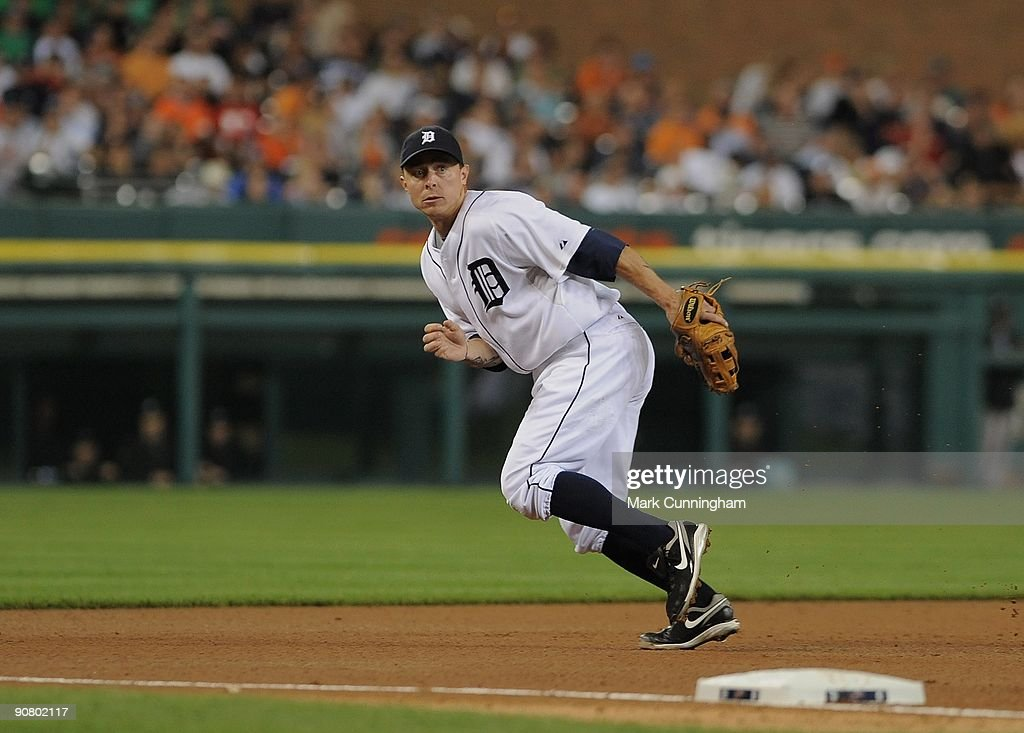 Brandon Inge #15 of the Detroit Tigers fields against the Toronto Blue Jays during the game at Comerica Park on September 12, 2009 in Detroit, Michigan. The Blue Jays defeated the Tigers 8-6.
