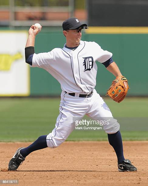 Brandon Inge of the Detroit Tigers throws against the New York Mets during the spring training game at Joker Marchant Stadium on March 13 2009 in...