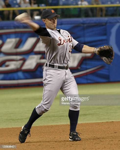 Brandon Inge of the Detroit Tigers throws to first base on July 9 2005 against the Tampa Bay Devil Rays at Tropicana Field Petersburg Fl The final...
