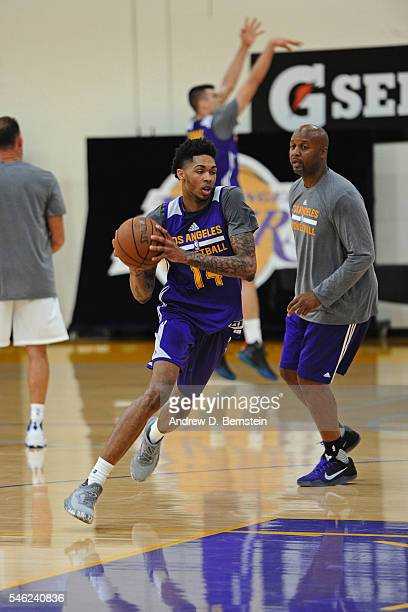 Brandon Ingram and Brian Shaw of the Los Angeles Lakers work out during a practice on July 5 2016 at Toyota Sports Center in El Segundo California...