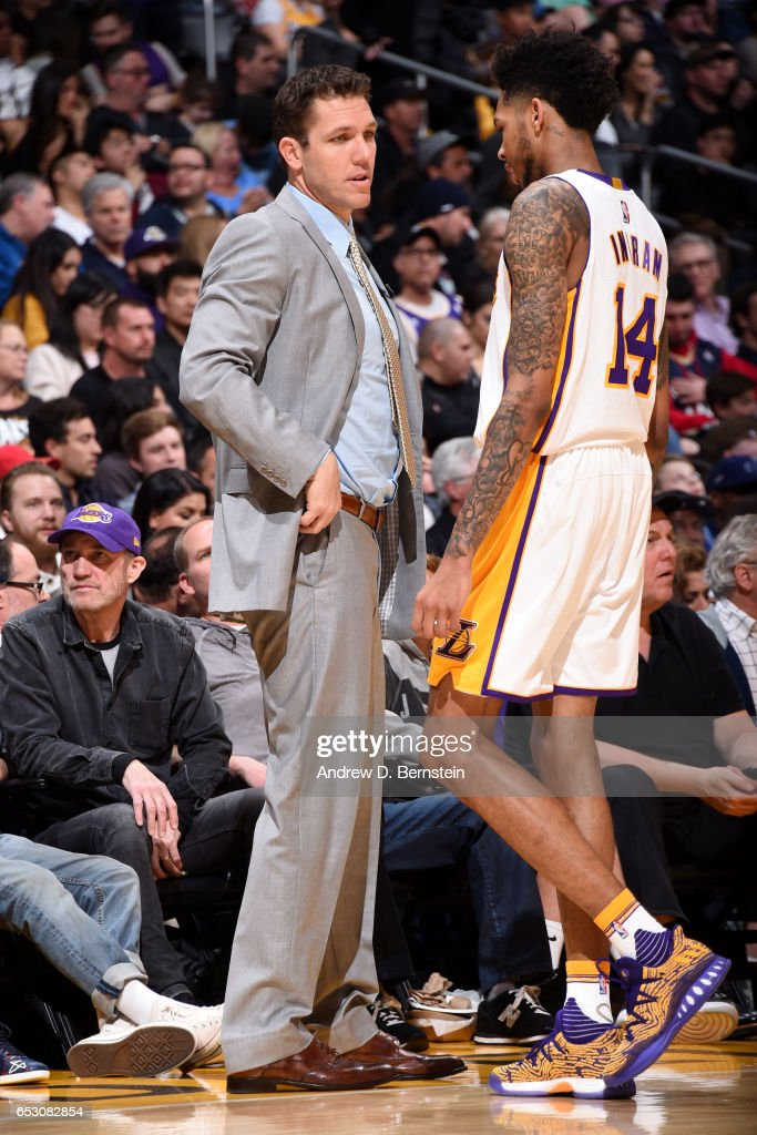 Brandon Ingram #14 and Head Coach Luke Walton of the Los Angeles Lakers talk during the game against the New Orleans Pelicans on March 5, 2017 at STAPLES Center in Los Angeles, California.