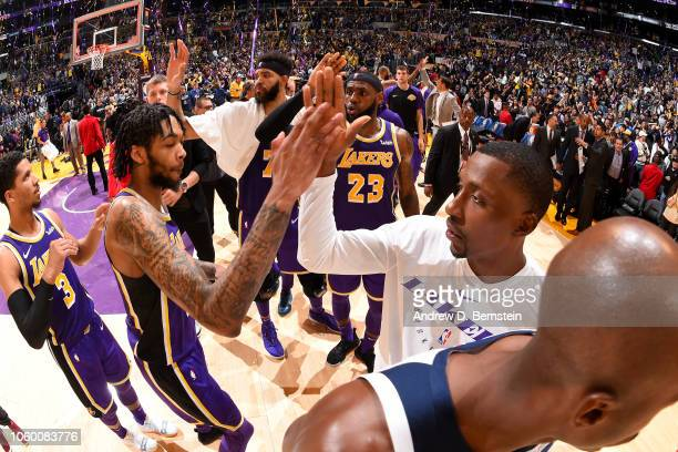Brandon Ingram and Kentavious CaldwellPope of the Los Angeles Lakers high five after the game against the Minnesota Timberwolves on November 7 2018...