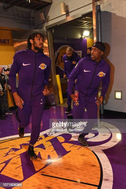Brandon Ingram and Kentavious CaldwellPope of the Los Angeles Lakers run the tunnel prior to the game against the Dallas Mavericks on November 30...