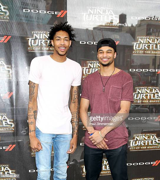 Brandon Ingram and Sean Murray attend the Teenage Mutant Ninja Turtles Out Of The Shadows world premiere at Madison Square Garden on May 22 2016 in...