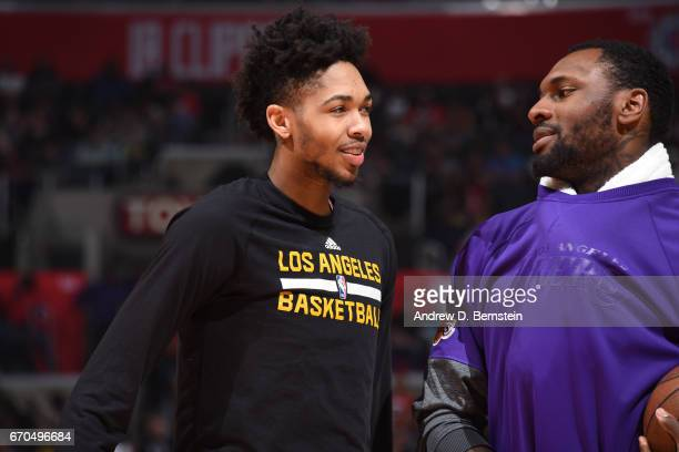 Brandon Ingram and Tarik Black of the Los Angeles Lakers are seen before the game against the LA Clippers on April 1 2017 at STAPLES Center in Los...