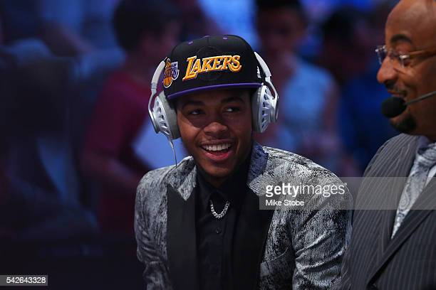 Brandon Ingram is interviewed after being drafted second overall by the Los Angeles Lakers in the first round of the 2016 NBA Draft at the Barclays...