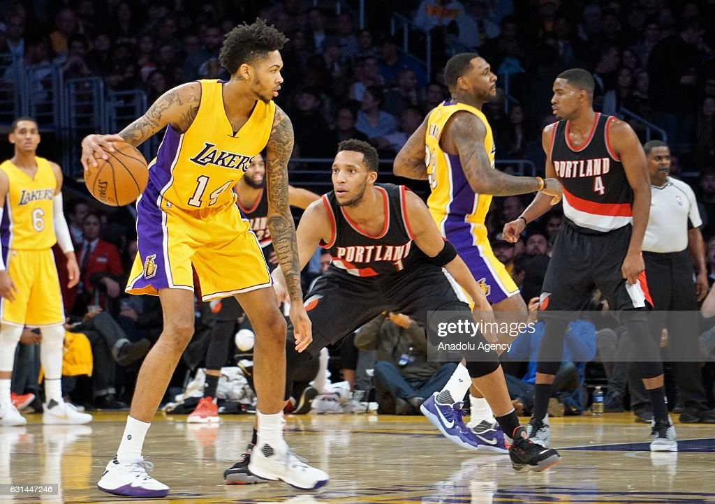 Brandon Ingram (L) of Los Angeles Lakers in action against Evan Turner (2nd L) of Portland Trail Blazers during a NBA game between Los Angeles Lakers and Portland Trail Blazers at Staples Center in Los Angeles, USA on January 10, 2017.