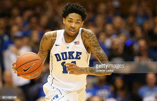 Brandon Ingram of the Duke Blue Devils brings the ball up the court against the Georgia Southern Eagles during their game at Cameron Indoor Stadium...