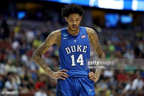 Brandon Ingram of the Duke Blue Devils looks down in the second half while taking on the Oregon Ducks in the 2016 NCAA Men's Basketball Tournament...