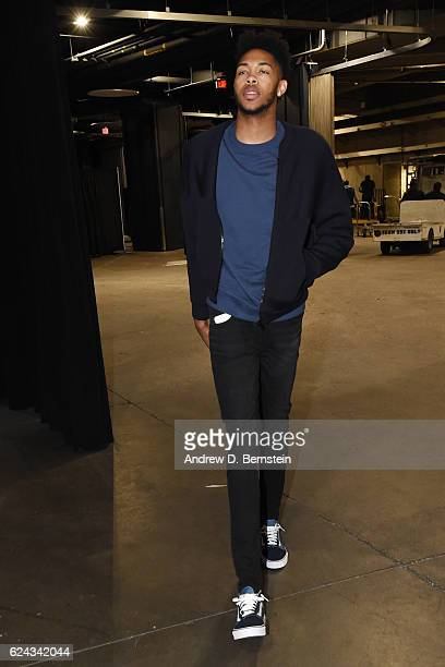 Brandon Ingram of the Los Angeles Lakers arrives at the Staples Center before the game against the San Antonio Spurs on November 18 2016 in Los...