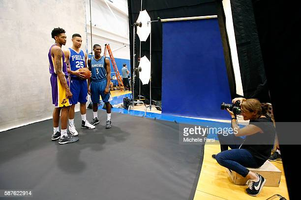 Brandon Ingram of the Los Angeles Lakers Ben Simmons of the Philadelphia 76ers and Kris Dunn of the Minnesota Timberwolves pose for a portrait during...