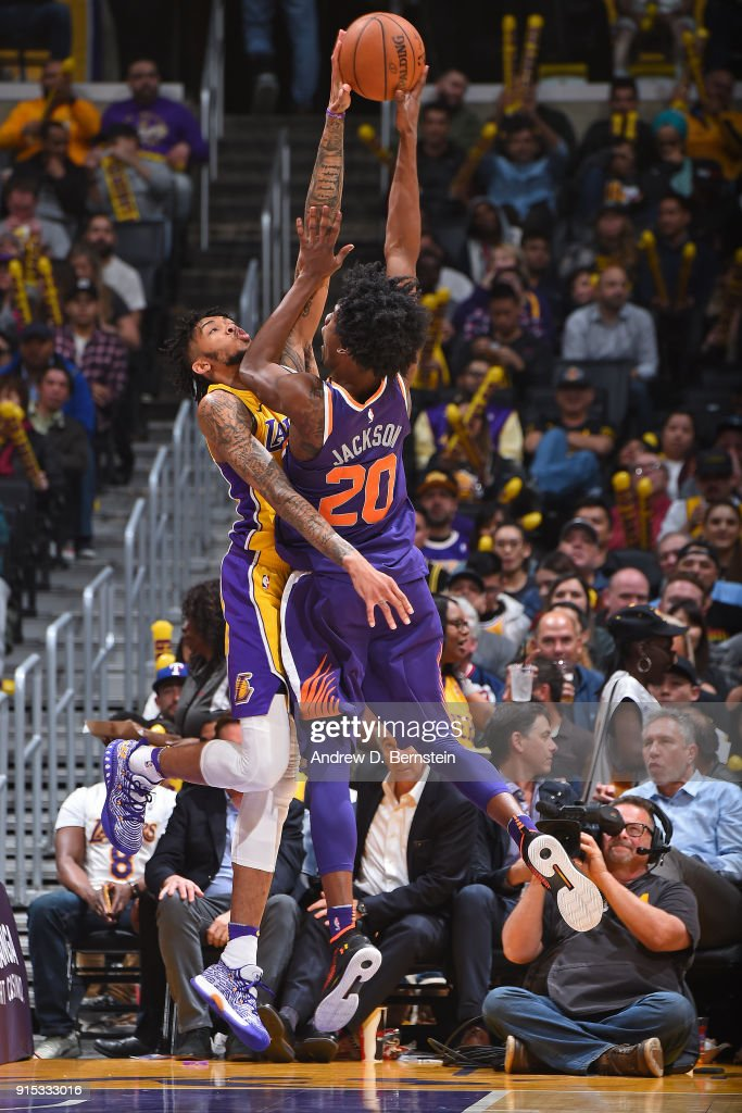 Brandon Ingram #14 of the Los Angeles Lakers blocks the shot of Josh Jackson #20 of the Phoenix Suns on February 6, 2018 at STAPLES Center in Los Angeles, California.