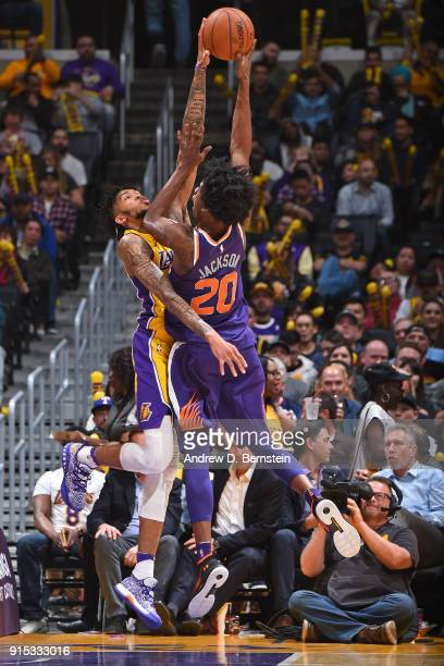 Brandon Ingram of the Los Angeles Lakers blocks the shot of Josh Jackson of the Phoenix Suns on February 6 2018 at STAPLES Center in Los Angeles...