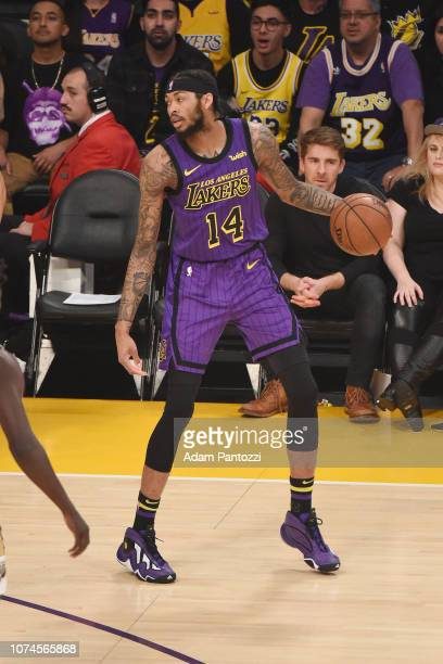 Brandon Ingram of the Los Angeles Lakers dribbles the ball during the game against the New Orleans Pelicans on December 21 2018 at STAPLES Center in...